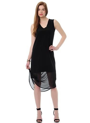 Mia V Yaka Şifon Detaylı Elbise Siyah